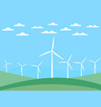 wind turbine on green fields in a flat style vector image vector image