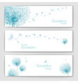 Set of banners with flower dandelion sketch vector image