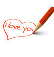 Red Heart - I Love You Card vector image