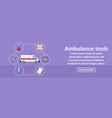 ambulance tools banner horizontal concept vector image
