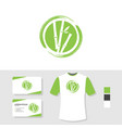 bamboo logo design with business card and t shirt vector image