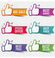 banner recommended with thumbs up transparent vector image
