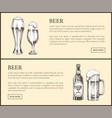 beer bottle glass and mug vintage landing page vector image vector image