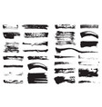 big set black pen ink brush strokes grunge ink vector image