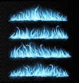 blue realistic gas fire trails burning tongues vector image vector image