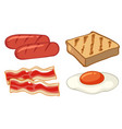 breakfast set with sausages and egg vector image vector image