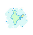 cartoon colored india map icon in comic style vector image vector image