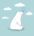 cartoon cub polar bear vector image vector image