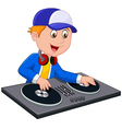 Cartoon DJ boy on white background vector image
