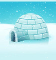 Cartoon igloo in polar winter landscape vector image