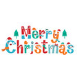 character design of merry christmas lettering vector image