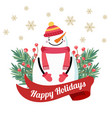 christmas card with snowman and tree branches vector image vector image