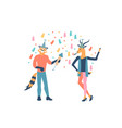 colleagues have fun corporate party in office vector image vector image