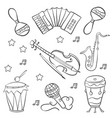 collection music doodle style hand draw vector image vector image