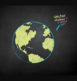 color chalk drawn earth globe vector image vector image