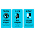 covid19 sign poster templates caution card face vector image vector image