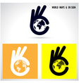 Creative hand and world map abstract logo vector image vector image