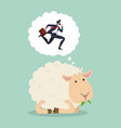 cute sheep eat grass counting businessman jumping vector image vector image