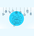 doodling style greeting card happy new 2020 year vector image vector image