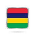 flag of mauritius metallic gray square button vector image vector image