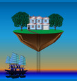 flying island above the water vector image vector image