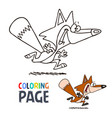fox smile cartoon coloring page vector image vector image