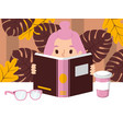 girl reading book smart vector image