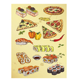 hand drawing set of pizza and sushi vector image