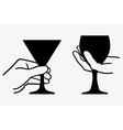 Hand holding wine glass vector image vector image