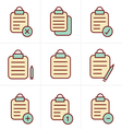Icons Style isolated clipboard list icons set vector image vector image