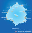 Island of Thassos in Greece map vector image vector image