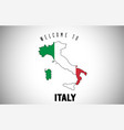 italy welcome to text and country flag inside vector image