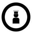 king in crown icon black color in round circle vector image vector image