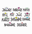 months year calendar lettering typography vector image