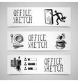 Office sketch banner set vector image vector image