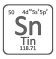 periodic table element tin icon vector image vector image