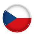 round metal flag - czech republic with screw holes vector image vector image