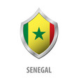 senegal flag on metal shiny shield vector image