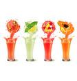 set fruit juice splash in a glasses vector image