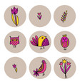 set of cute birds and tulips in doodle style vector image vector image
