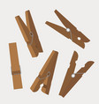 set of wooden clothespins vector image