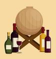 set red wine bottles and barrel vector image vector image
