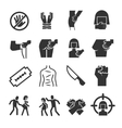 Sexual abuse harassment violence icons