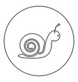 snail icon black color in round circle vector image vector image