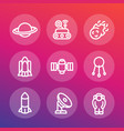 space line icons set vector image vector image