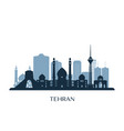tehran skyline monochrome silhouette vector image vector image