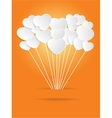 Valentines Day of White Paper Heart on a Orange vector image