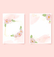watercolor pink english rose with golden frame on vector image vector image
