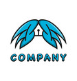 wing logo and pen design template vector image vector image