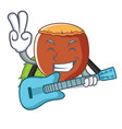 with guitar hazelnut mascot cartoon style vector image vector image